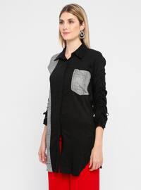 Black - Plaid - Point Collar - Viscose - Blouses