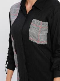 Maroon - Black - Plaid - Point Collar - Viscose - Blouses