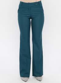 Green - Viscose - Pants