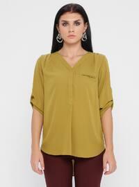 Green - V neck Collar - Blouses