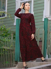 Maroon - Leopard - Crew neck - Unlined - Dress