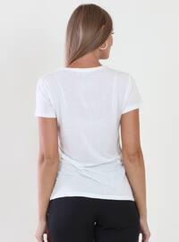 White - V neck Collar -  - Blouses