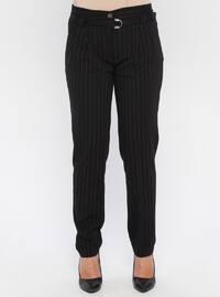 Fuchsia - Black - Stripe - Pants