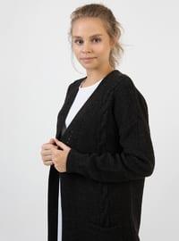 Black - V neck Collar - Acrylic - Cardigan