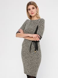 Gold - Gold - Multi - Crew neck - Unlined - Dress