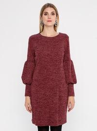 Fuchsia - Crew neck - Fully Lined - Metal Thread - Dress