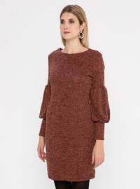 Tan - Crew neck - Fully Lined - Metal Thread - Dress