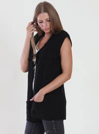 Black - Unlined - V neck Collar - Viscose - Vest