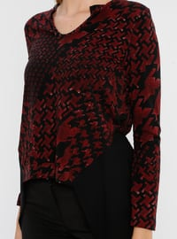 Maroon - Multi - V neck Collar - Rayon - Blouses