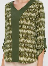 Khaki - Multi - V neck Collar - Blouses