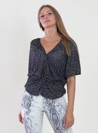 Black - Multi - V neck Collar - Viscose - Blouses