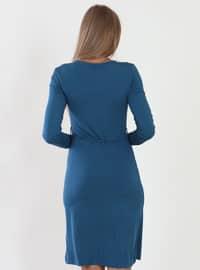 Petrol - V neck Collar - Fully Lined - Viscose - Dress