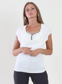 White - Ecru - V neck Collar - Viscose - Blouses