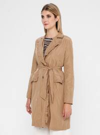 Camel - Unlined - Shawl Collar - Trench Coat
