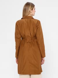 Brown - Unlined - Shawl Collar - Trench Coat
