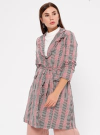 Red - Unlined - Shawl Collar - Trench Coat