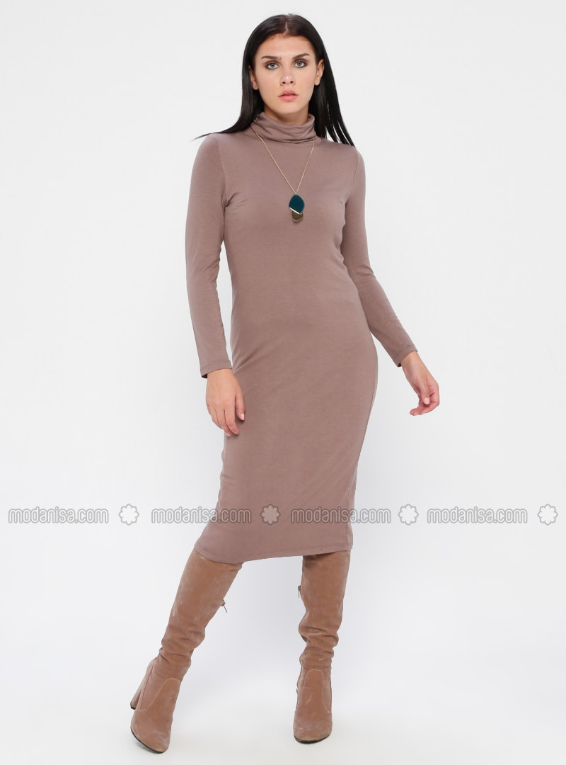 Mink - Polo neck - Fully Lined - Linen - Rayon - Dress