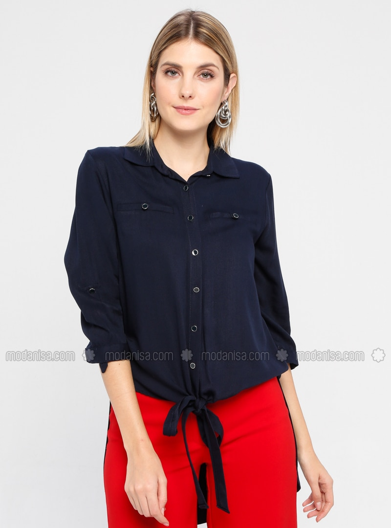 Navy Blue - Point Collar - Viscose - Blouses