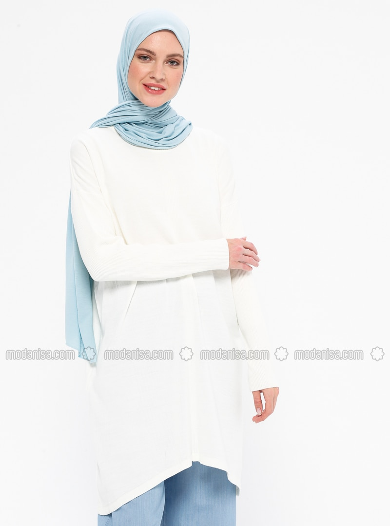 Ecru - Cream - Crew neck - Acrylic -  - Tunic