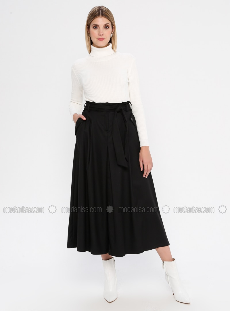 Black - Fully Lined - Viscose - Skirt
