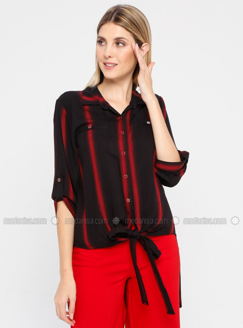 Maroon - Stripe - Point Collar - Viscose - Blouses