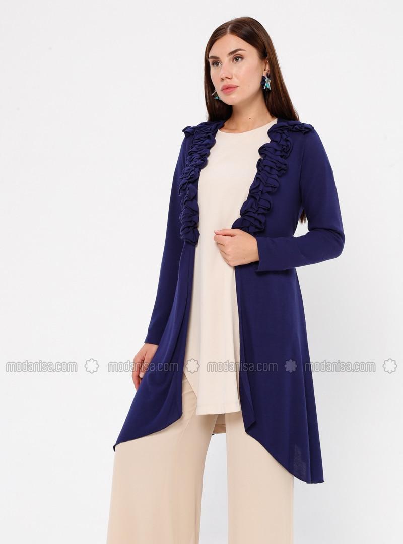 Blue - Saxe - Shawl Collar - Viscose - Cardigan