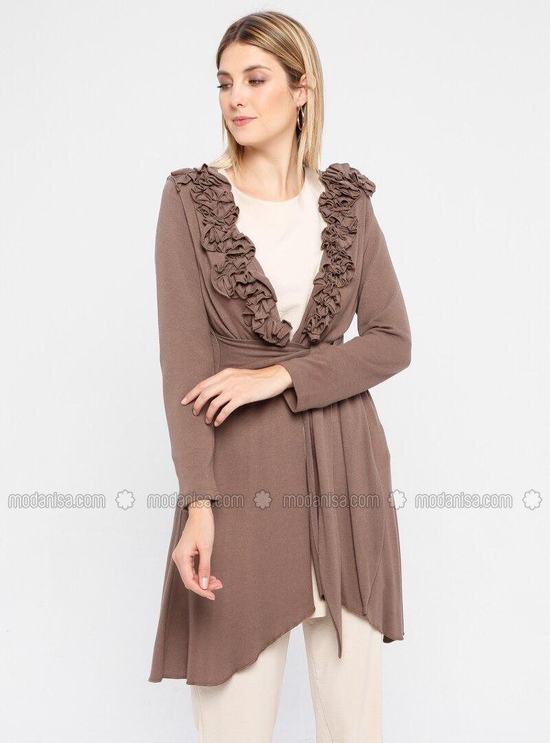 Brown - Rayon - Cardigan