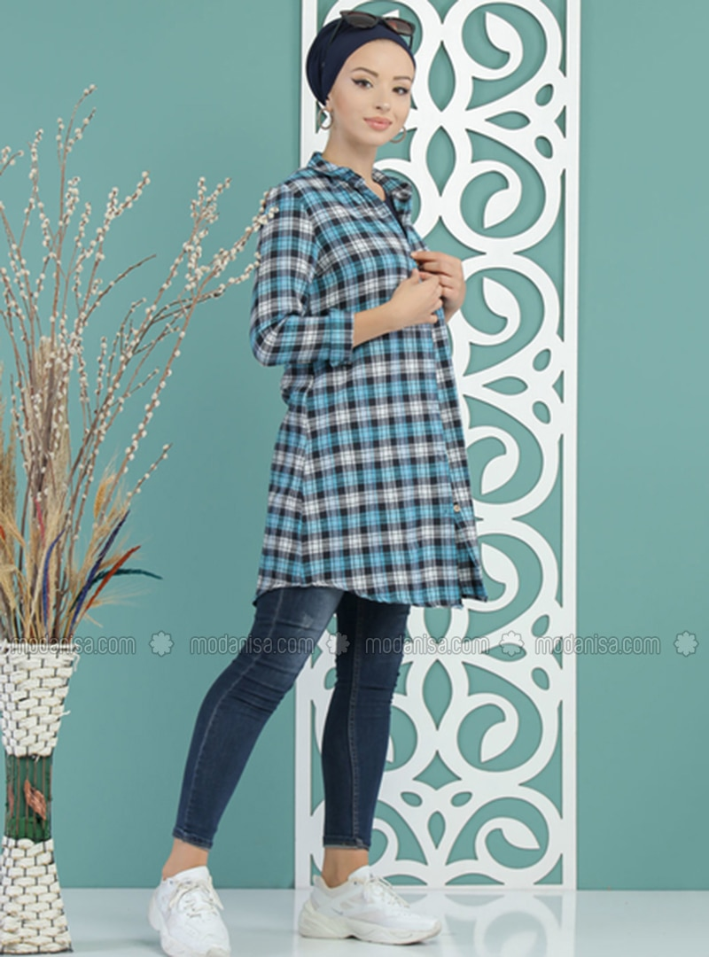 Blue - Plaid - Point Collar -  - Tunic