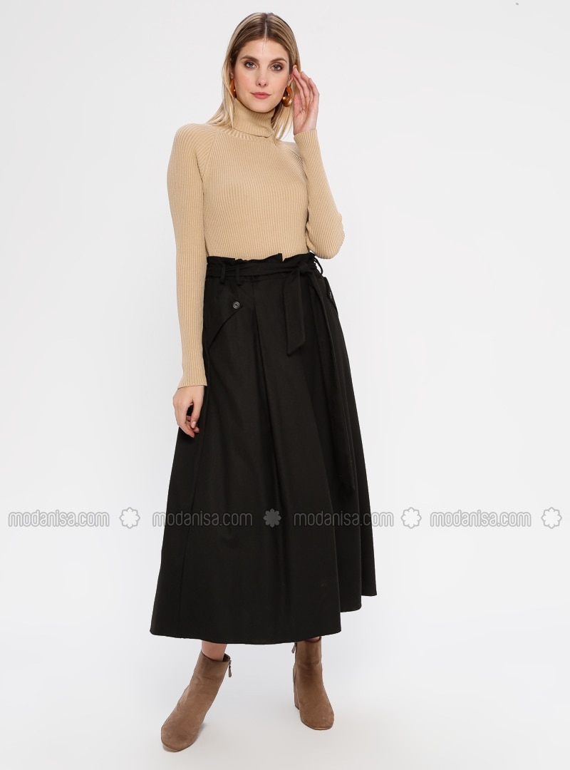 Brown - Unlined - Rayon - Skirt