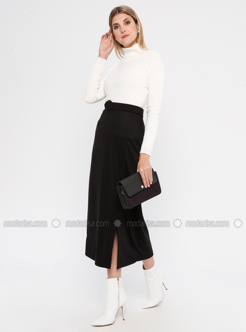 Black - Unlined - Rayon - Skirt