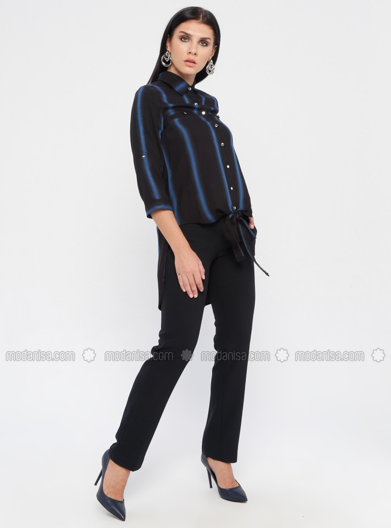 Navy Blue - Viscose - Pants