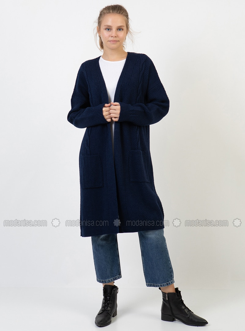 Navy Blue - V neck Collar - Acrylic - Cardigan