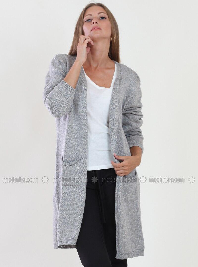 Gray - Shawl Collar - Viscose - Cardigan