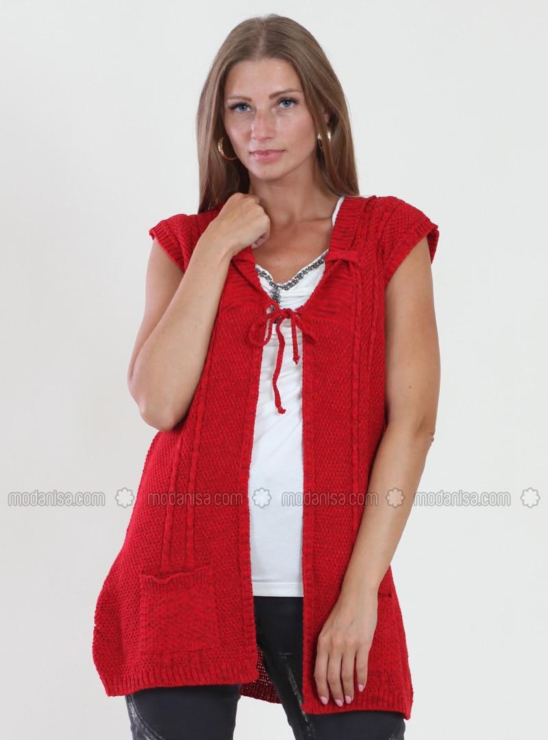 Red - Unlined - V neck Collar - Viscose - Vest