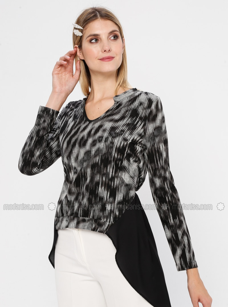 Black - Multi - V neck Collar - Rayon - Blouses