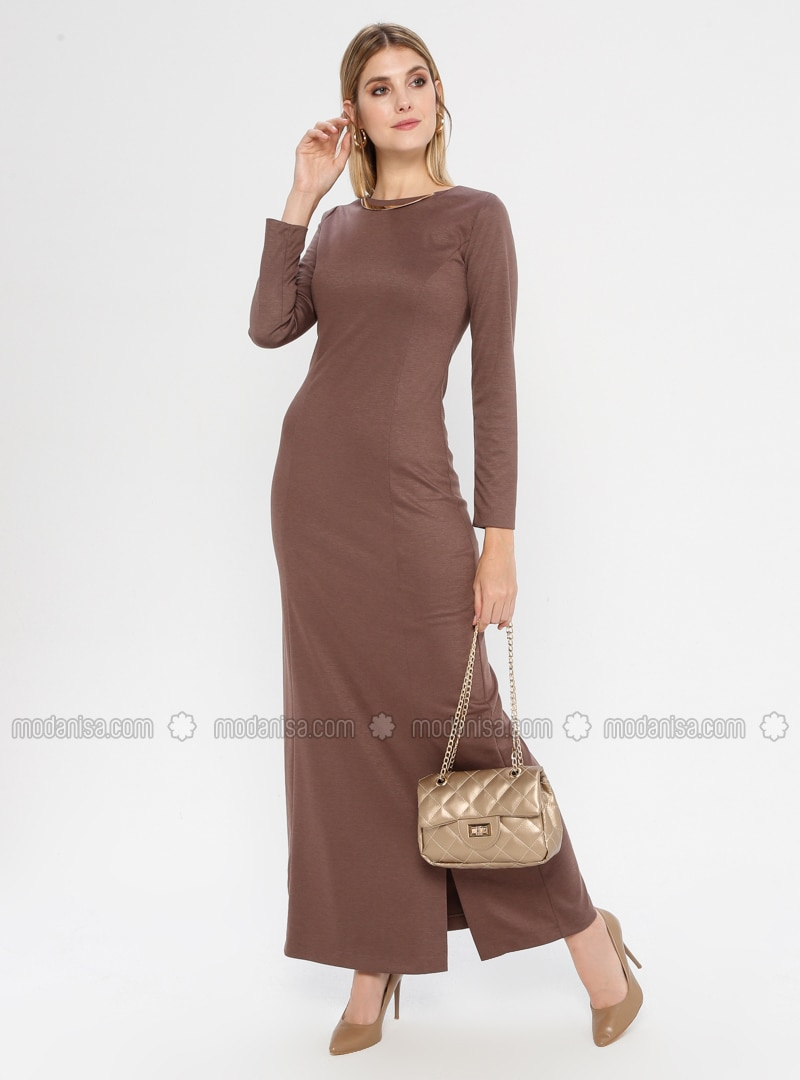 Brown - Crew neck - Unlined - Nylon - Rayon - Dress