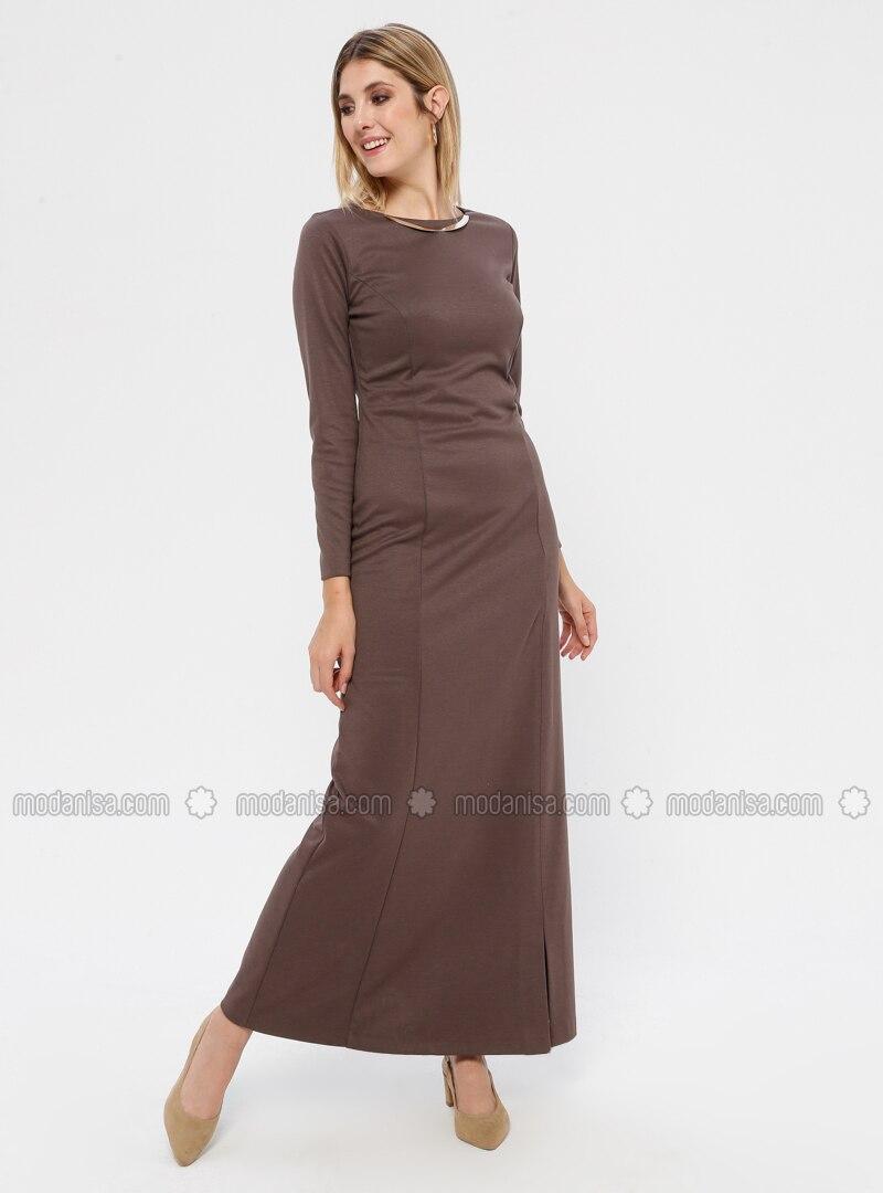 Mink - Crew neck - Unlined - Nylon - Rayon - Dress