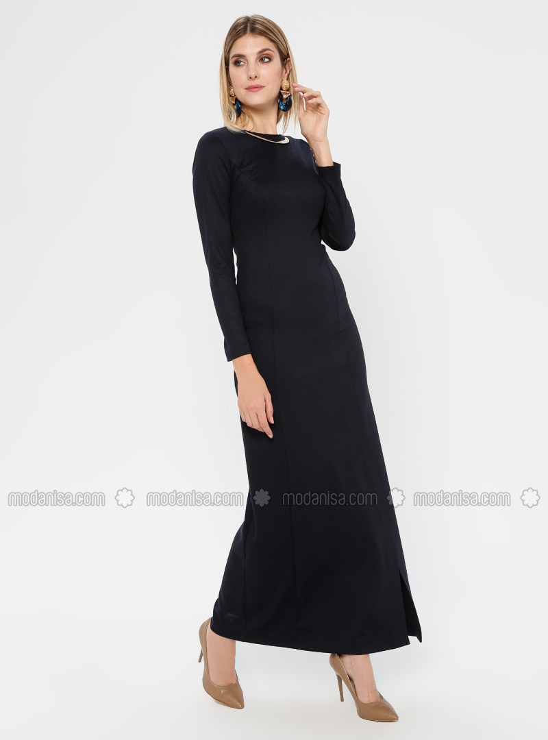 Navy Blue - Crew neck - Unlined - Nylon - Rayon - Dress