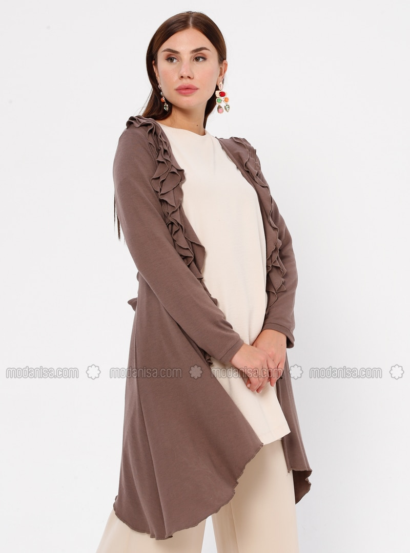 Brown - Rayon - Cardigan