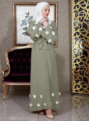 Sea-green - Unlined - V neck Collar - Abaya