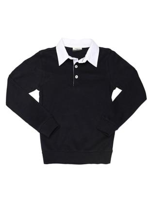 Point Collar -  - Navy Blue - Boys` Sweatshirt