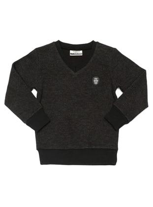 V neck Collar - Unlined - Black - Boys` Sweatshirt