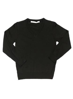 V neck Collar - Acrylic -  -  - Unlined - Black - Boys` Pullover