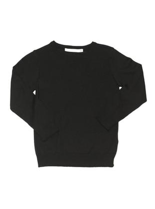 Crew neck - Acrylic -  -  - Unlined - Black - Boys` Pullover