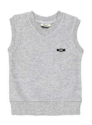 V neck Collar - Acrylic -  -  - Unlined - Gray - Boys` Vest - Nanica Kids