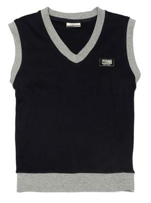 V neck Collar -  - Navy Blue - Boys` Vest
