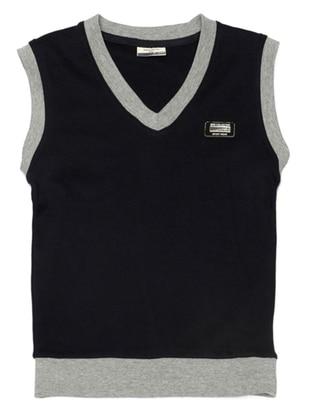 V neck Collar -  - Navy Blue - Boys` Vest