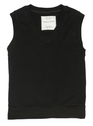 V neck Collar -  - Black - Boys` Vest