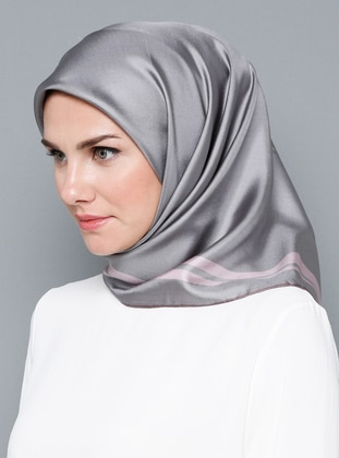 Gray - Patterned Side - %100 Silk - Scarf