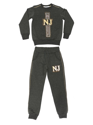 Crew neck -  - Anthracite - Girls` Suit